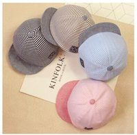 Wholesale Boys Beret Stars - Baby Beret Hats Striped Star Baseball Caps Kids Fashion Summer Hat Cotton Casual Sun Caps Children Outdoor Hat Baby Boys Girls Caps J182