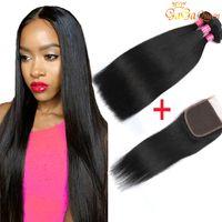 Wholesale Straight Closure Weave - Brazilian Straight Hair With Closure 8a Brazilian Virgin Hair 3 Bundles With Lace Closure 4x4 Brazilian Lace Closure With Bundles Human Hair