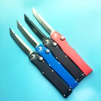 Wholesale Tactical Hunting Black - microtech halo V all black single action red blue handle Hunting Pocket Knife Survival Knife Xmas gift for men 1pcs