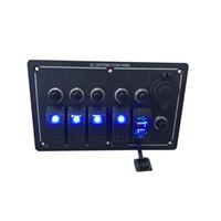 painel de interruptor de balancim led venda por atacado-À prova d 'água 4 Gang Alumínio BLUE LED Rocker Switch Painel Tomada de Energia e USB Barco Marinho