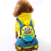 Wholesale Minions Halloween Costume - Pets Coats Dog Costumes Minions Clothing Style Winter Fall Dressing Minion Movie Yellow Blue Red Colors Cute Look Dog Clothes 4 Sizes