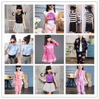 Wholesale Tank Tutu 2pcs - 2017 Summer Big Girls Summer Outfits Lace Sleeveless Tank Tops + Tulle Striped Skirt 2PCS Sets Casual Children Outfits Blue Pink KB420
