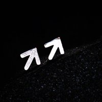 Wholesale Wholesale Brass Brushes - 5 pairs lot Hot Fashion Real 925 Sterling Silver Simple Design Arrow Brushed Matte Stud Earrings boucle d'oreille
