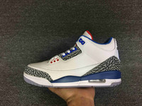 Wholesale Embroidered Satin Fabric Discount - 2016 New air retro 3 III OG True Blue White 3s men basketball shoes sports sneakers wholesale discount free shipping size 7-12
