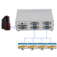 Wholesale Video Svga - Wholesale- 4 Port SVGA VGA Splitter 250MHz 1 PC to 4 LCD CRT Video Monitor For PC Projector