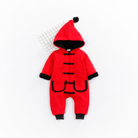 Wholesale Chinese Boys Suit - Winter Red Baby Rompers Cotton Boys Suits Baby clothes For Chinese New Year girl clothing for newborn baby jumpsuit