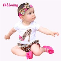Wholesale Newborn Boy Bloomers - Wholesale- 2016 Baby Girl Set Cotton Short Sleeve Bodysuit Leopard Bloomers Shorts Headband Newborn clothes Kids Girl Clothes Sets