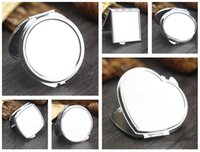Wholesale Order Mirrors - Free shipping Metal round make-up mirror simple double-sided small mirror custom pattern HM003 mix order as your needs