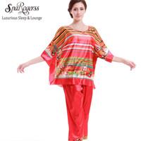 Wholesale ladies silk pants suits - Wholesale- SpaRogerss Hot 2017 Women Pajamas Satin Pyjamas Faux Silk Lady Sleepwear With Pants Home Suit 2 Piece Summer Pajama Set 10177