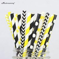 Wholesale Chevron Paper Yellow Straws - Wholesale- 25 x Bumble Bee Paper Straws Black Yellow Party Supplies Baby Shower Wedding Decor Chevron Polka Dot Striped Party Decoration