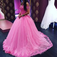 Wholesale Charming Quinceanera Dresses Ball Gown - Charming Pink Tulle Quinceanera Dresses Off the Shoulder Sweet 16 Ball Gowns Lace Top Sweet Sixteen Dresses Prom Party Gowns