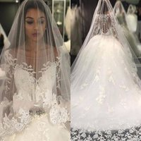 Cheap white luxury church sheer wedding dress - Luxury Appliques Beaded Crystals Ball Gown Wedding Dresses 2017 New Long Sleeves Sheer Scoop Buttons Back Church Long Bridal Gowns