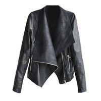 Wholesale Motorcycle Jackets Leather Classic - 2017 New Lady Zipper PU leather Coat Short Black Motorcycle Jacket with Pocket Classic Basic Winter Jacket Women Outwear