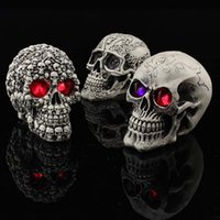 Wholesale Person Toy - 4 style Novelty Halloween LED Flash Decoration Skull Tricky Toys horror spoof whole person luminous resin K038