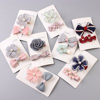 Wholesale Kids Hair Clip Flower - Hot Candy Color Solid Dot Flower Print Ribbon Bow Hairpin BB Hair Clips for Kids Hair Accessories Lovely Hair Clip