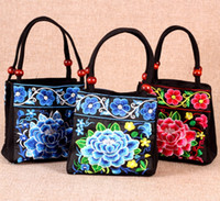 Wholesale Ethnic Bags - Vintage National Ethnic embroidery bags Chinese style Embroidered hand bag lady Travel Shopping handbag Sac Femme Bolsos