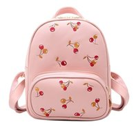 Wholesale cherry phones - Women Backpack With Cherry Printing Women's PU Leather Backpacks Small School Bags Girls High Quality Designer mochilas