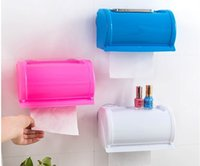 Wholesale Toilet Tissue Box Holder - Sucker Type Waterproof Tissue Holder Plastic Toilet Paper Roll Holder For Shower Room 3 Colors Eco Friendly