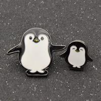 Wholesale Wholesale Mom Pin - Wholesale- 2pcs Cute Shirt Collar Pin Penguin Mom And Kid Set Cartoon Enamel Brooch Pin