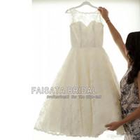 Wholesale Sequin Short Dress Feathers - Vintage Tea Length Wedding Dresses for Tattoo Bride Bateau Neckline Ivory Bridal Lace Bridal Gowns Short Ourdoor Wedding Gowns Plus Size