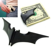 Unisex blank magnetic cards - Newest DIY Blank Money Clip Black Bat Stainless Steel Metal Money Clip Credit Card Holder Batman Alloy Metal Magnetic Wallet WX W14