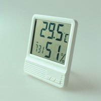 Wholesale indoor thermometer resale online - New Arrival Indoor LCD Thermometer Hygrometer Pure White