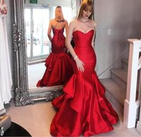 Wholesale Mermaid Sweethear - Sweethear Ruffles Red Long Mermaid Evening Celebrity Dresses 2017 Corset Back Elegant Women Pageant Prom Gowns Party Wear