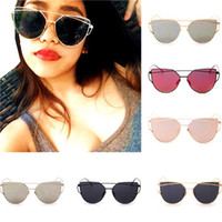 Wholesale 6 Colors New Women and Men Cat Eye Sunglasses Fashion Brand Designer Twin Beams Coating Mirror Sun glasses Female Sunglasses With Case and B