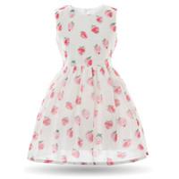 Wholesale Summer Party Dresses Design Casual - Cielarko Kids Girls Dress Baby Pink Strawberry Casual Sundress Summer Fruit Princess Party Frock Cartoon Design Short Dresses