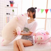 Wholesale Pink Stuffed Animals Cartoons - New style cuddly soft cartoon lying pig plush toy pillow stuffed anime piggy animal doll gift for kids 33inch 85cm