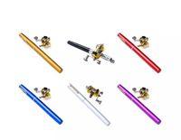 Wholesale Pocket Rod Reel - Portable Travel Pocket Mini Aluminum Alloy Pen Shaped Pole Fishing Rod with Metal Drum Wheel Reel Combo Foldable Fishing Set 1meter