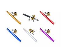 kalem çubuk seti toptan satış-Taşınabilir Seyahat Cep Mini Alüminyum Alaşım Kalem Şekilli Kutup Olta Metal Davul Tekerlek Makara Combo ile Katlanabilir Balıkçılık Set 1 metre