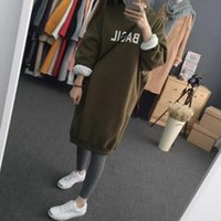 Wholesale ladies korean winter dresses - M-2XL Winter Spring Ladies Long Sleeve Sweatshirt Dresses Warm Thicken Hoodie Dress Korean Fashion Pullover Women Casual Tops