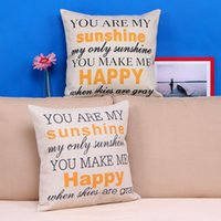 """Wholesale good pillows - Wholesale-Low Price """"You are my Sunshine """"Cotton Linen Leaning Cushion Throw Pillow Case Good Design 45*45 cm"""