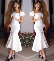 Wholesale Cheaper Plus Size Dresses - White Elegant Satin Mermaid Cocktail Dresses 2017 Hot Selling Ankle Lengtk Hi-lo Formal Party Wear Women Evening Gown Cheaper