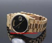 relógios onyx venda por atacado-Presente de natal suíço relógios de luxo caixa Original certificado de discagem preta 18238 18 K Ouro Duplo Fábrica Rápida de Ônix Dial 41mm relógio Automático