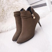 Wholesale Sexy Rainboots - Sexy Women Boots Solid Flock Suede High heels Boots 6cm heel Lady Stiletto Pointed toe Ankle Boots Martin Boot Brown Black