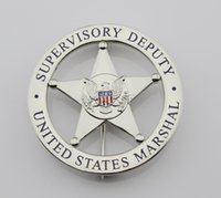 Wholesale Silver Law - United States emblem MARSHAL SUPERVISORY DEPUTY US federal court law enforcement badges Silver Color Halloween Cosplay Metal Toy Gift