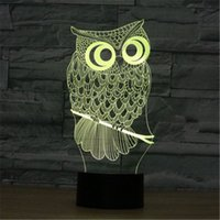 LED Cute Animal Owl 3D Visual LED Night Light Acrylique 7 couleurs Gradient USB Desk Lamp Children Holiday Gift -253