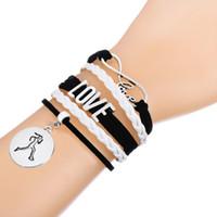 "Wholesale Mutilayer Braid Leather Bracelet - Braided Leather Handmade Bracelet Mutilayer Love Infinity Word"" run like a girl"" Round Sports Charm Bracelet"
