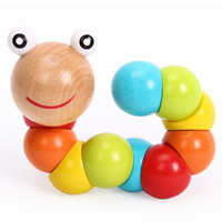 Wholesale Diy Infant Toys - New DIY Baby Kids Polished Twist Caterpillars Colorful Wooden Wood Toy Developmental Infant Educational WJ342