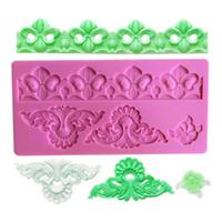 Wholesale Mat Lace - Fleur de Lis Border Decoration Lace Mold Silicone Baking Mat Cake Mold Sugar Lace Mat Cake Decorating Tools LM-69