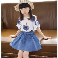 Wholesale Cheap Korean Kids Clothing - Wholesale- 2016 New Korean Girls Summer Shorts+A-line Skirt 2pcs Cheap Children Baby Suit Floral Blouse Brand Kids Clothes For 4-15Y Hot