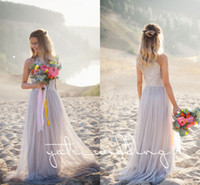 Wholesale flowy beach wedding dresses for sale - 2018 Newest Beach Bridesmaid Dresses Jewel Sequins Tulle Silver Bohemian Wedding Dresses Flowy Maid Of Honor Long Bridesmaid Gowns