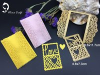 Wholesale Heart Lace Paper - METAL CUTTING DIES love heart grid lace frame rectangle Scrapbook card album paper craft home decorate embossing stencil cutter