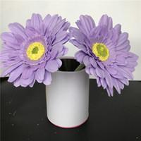 ingrosso fiori artificiali chiari viola-Seta viola chiaro fiore di seta artificiale teste di 11 centimetri real touch margherita fiori di seta crisantemo girasoli per la decorazione di nozze patry