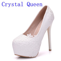 Wholesale Stiletto Heels Wholesale - Crystal Queen Bridal Shoes Summer Hollow White Lace Beautiful Wedding Marriage Flower High-heeled Women's Pumps Woman Shoes