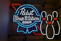 New Pabst Blue Ribbon bowling Beer Handmade Neon Sign 24x20