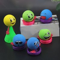Wholesale Wholesale Bouncing Inflatables - Wholesale- 5 Pcs Pack Kids 9cm Large Bounce Ball Toys Baby Gifts Children Educational Game Hip Hop Expressions Push&Down Elf Villain Doll