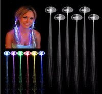 Wholesale Colorful Wigs Wholesale - 20pcs lot Colorful LED Wigs Glowing Flash LED Hair Braid Clip Hairpin Decoration Ligth Up Show Easter Party supplies Christmas